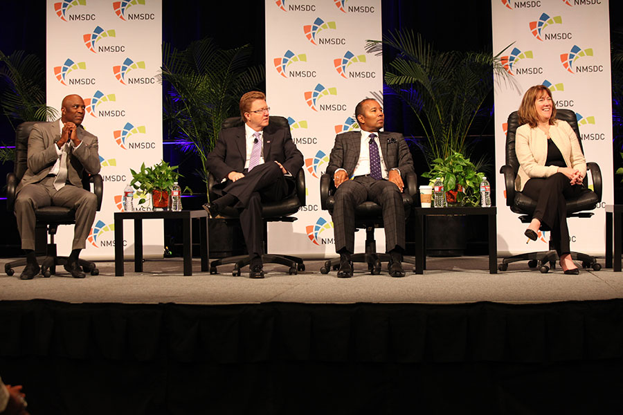 Panelists Sid Johnson (Delphi), James Moise (Fifth Third Bancorp), Quentin Roach (Merk & Co) and Sheila S. Tierney (Ingersoll Rand) at the Wednesday NMSDC Plenary Session