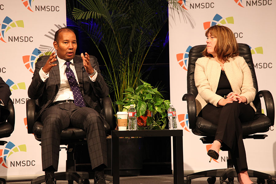 Panelists Quentin Roach (Merk & Co) and Sheila S. Tierney (Ingersoll Rand) at the Wednesday NMSDC Plenary Session