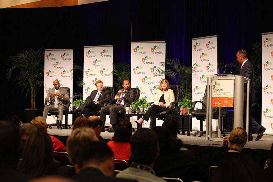 Panelists Sid Johnson (Delphi), James Moise (Fifth Third Bancorp), Quentin Roach (Merk & Co) and Sheila S. Tierney (Ingersoll Rand) with Modertator Shelley Stewart, Jr. (Dupont) at the Wednesday NMSDC Plenary Session