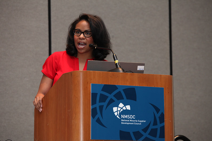 "Panelist Vonshe Jenkins (Bank of America Corporation) at the ""Innovation: Transforming the Landscape"" Workshop"