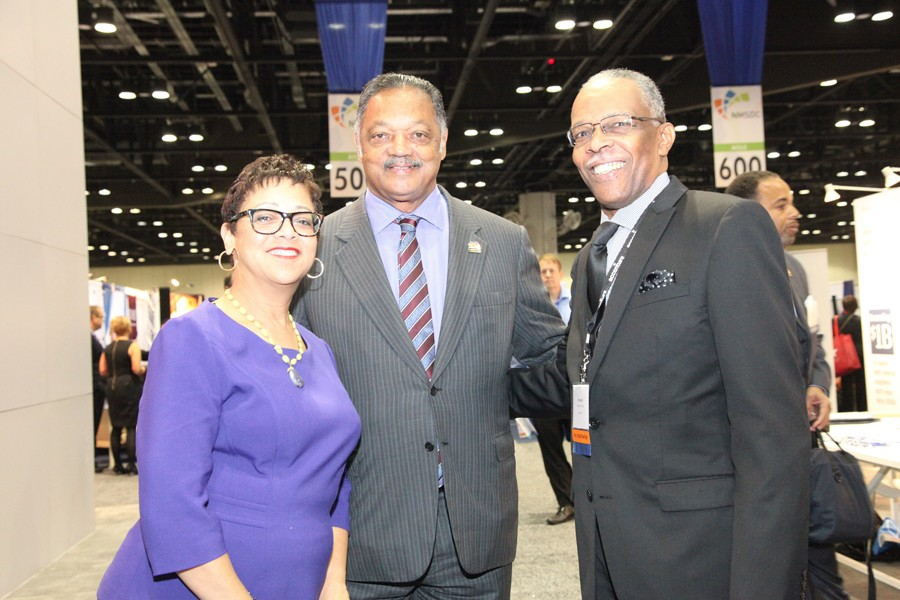 Reverend Jesse Jackson greets NMSDC President Joset Wright-Lacy Business Opportunity Fair.