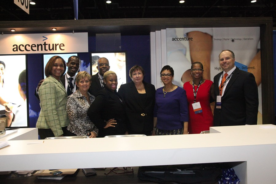 NMSDC President Joset Wright-Lacy stopped by the Accenture booth to thank them for sponsoring the NMSDC Conference mobile app.