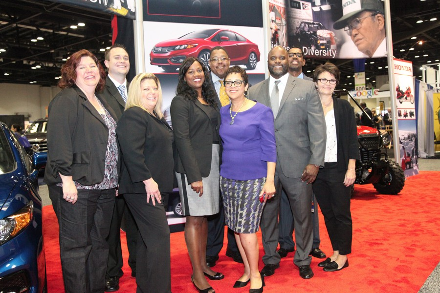 NMSDC President Joset Wright-Lacy visited the Honda booth. Honda was one of the co-sponsors of the Business Opportunity Fair.